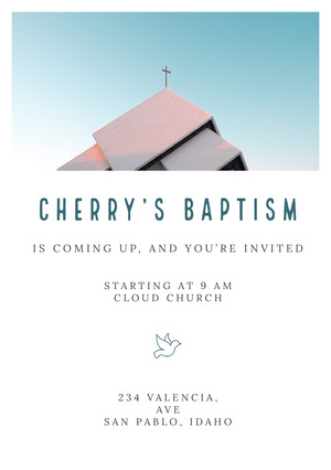 Blue and White Baptism Invitation Baptism Invitation