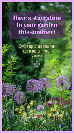 Purple and green Garden Landscaping Instagram Story Summer