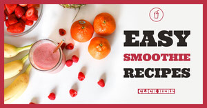 Pink Easy Smoothie Recipes Facebook Cover Volantino pubblicitario