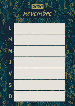 Green and Navy November Weekly Planner Card Calendrier