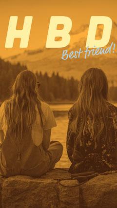 Orange Happy Birthday Best Friend Instagram Story with Two Women Sitting on Lakeshore Friends