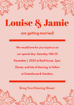 winter wedding invitation card Red
