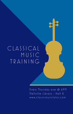 Blue, Gold and White Classical Music Training Poster Gold