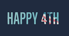 Blue, White and Red Minimalistic Fourth of July Facebook Banner 4th of July