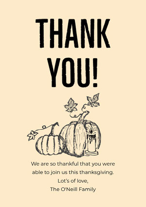 Yellow Illustrated Pumpkin Thanksgiving Dinner Thank You Card Cartão pelo Dia de Ação de Graças