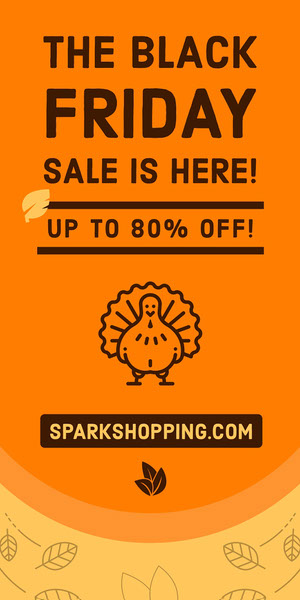 Orange Black Friday Thanksgiving Turkey Vertical Ad Banner Volantino pubblicitario