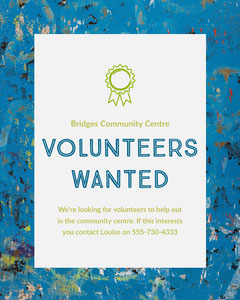 Green and Blue Volunteers Wanted Instagram Portrait  Help Wanted Flyer