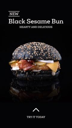 black sesame bun instagram story  Burger