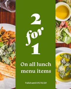 Green 2 For 1 Lunch Instagram Portrait  Promotion