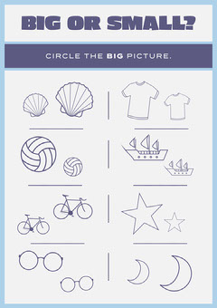 Blue and Purple, Light Toned, Big or Small Worksheet Preschool Flyer