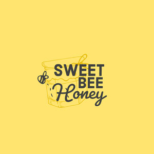 Yellow & Grey Honey Pot & Bee Logo Typography Logo