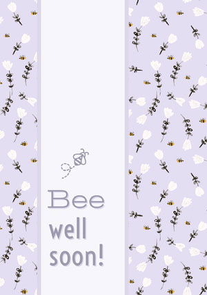 Pink Bee Pun Get Well Soon Card with Flowers God bedring-kort