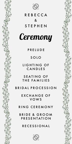 Green Vines Elegant Wedding Program Programa de bodas