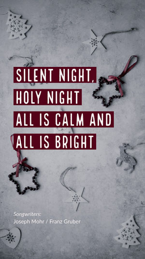 White and Red Silent Night Christmas Song Instagram Story Carte de Noël