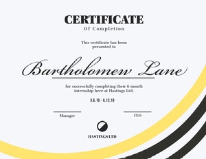 Yellow and Black Calligraphy Internship Completion Certificate Certificat