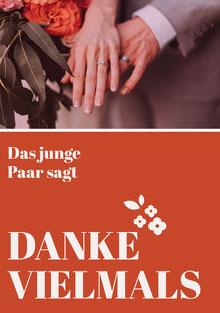 orange floral wedding thank you cards Hochzeitsdankeskarten