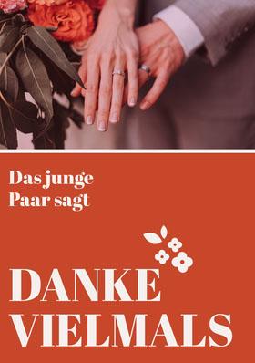 orange floral wedding thank you cards Danksagungskarte