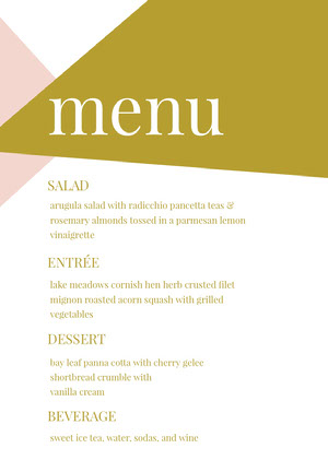 Gold and Pink Wedding Menu Menú