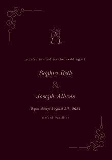 Pink and Black Wedding Invitation Wedding Invitation