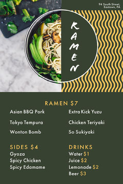Green and Yellow Ramen Menu  Drink Menu
