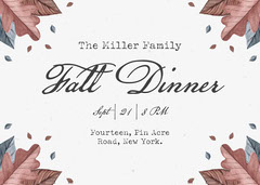 Brown and White Fall Dinner Invite Fall