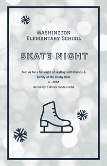 White and Blue Skate Night Social Post School Posters