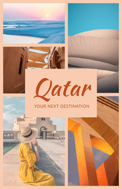 Colorful Qatar Collage Poster Vacation