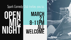 Black, White and Blue Open Mic Night Facebook Banner Comedy