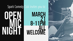 Black, White and Blue Open Mic Night Facebook Banner Music Banner