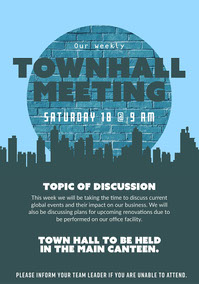Blue and Grey Town Hall Meeting Flyer Grassroot Movement Posters