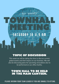 Blue and Grey Town Hall Meeting Flyer Meeting Flyer
