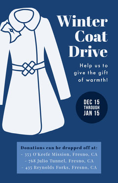 White and Blue Winter Coat Drive Flyer Donations Flyer