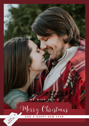 Red, Warm Toned Couple Christmas Card  Christmas Card