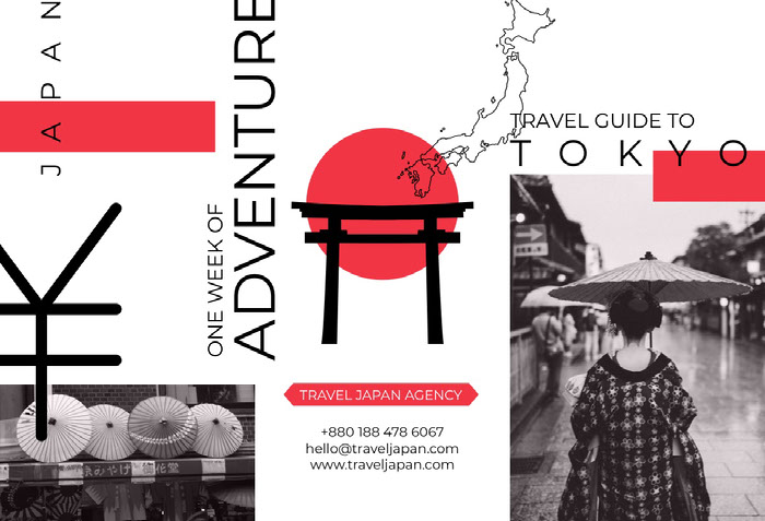 White and Red Tokyo Brochure Ideias de panfletos