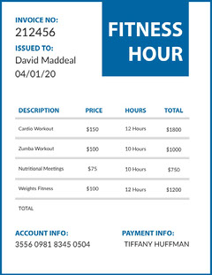 Blue Gym Workout Invoice Workout