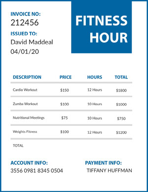 FITNESS <BR>HOUR  Invoice