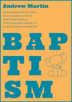 Blue and Orange Illustrated Baptism Invitation Card with Elephant Baptism