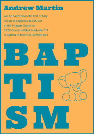 Blue and Orange Illustrated Baptism Invitation Card with Elephant Kastajaiskutsu