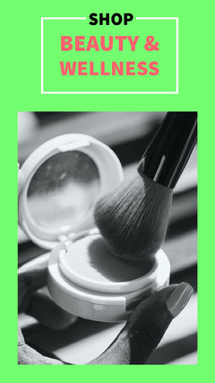 Green and Grey Beauty and Wellness Shop Advertisement Makeup