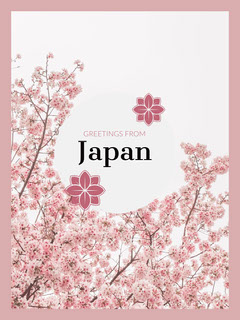 Pink and White Greetings from Japan Postcard with Cherry Blossom Japan