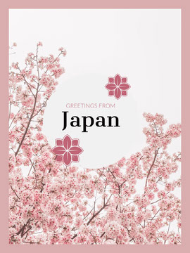 Pink and White Greetings from Japan Postcard with Cherry Blossom Carte postale