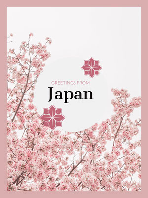 Pink and White Greetings from Japan Postcard with Cherry Blossom Postal