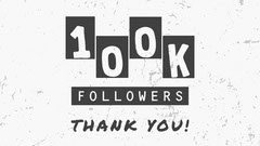 Black and White 100k Followers Youtube Thumbnail Thank You Poster