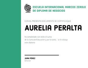 Aurelia Peralta  Certificado