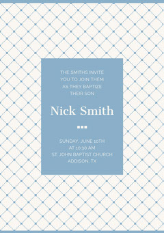 Blue Elegant Son Baptism Invitation Card with Pattern Boys