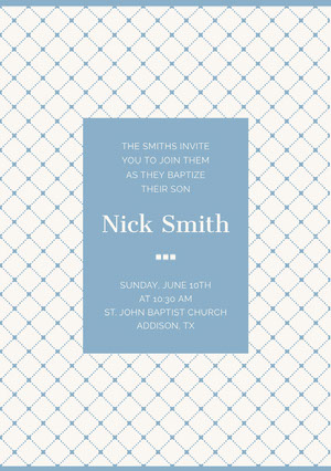 Blue Elegant Son Baptism Invitation Card with Pattern Invitation de baptême