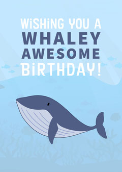Blue Whale Pun Happy Birthday Card Fish