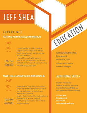 Yellow and Orange Teacher Resume CV professionnel