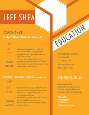 Yellow and Orange Teacher Resume CV