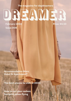 Orange Dreamer Travel Magazine Cover with Woman in Field Dress